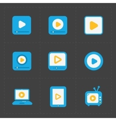 Flat video player icons on dark background vector image