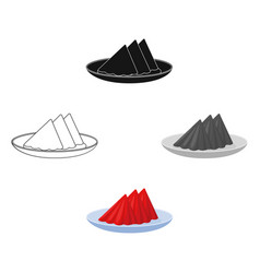 Folded napkins on plate icon in cartoonblack vector