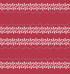 Folklore floral border on red seamless vector