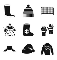 Freeze over icons set simple style vector