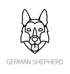 German shepherd tongue out dog breed linear face vector
