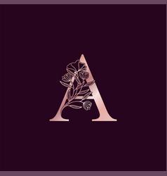 Gold rose flower letter a luxury logo elegant vector