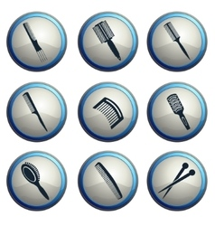 Hairbrushes icon set vector