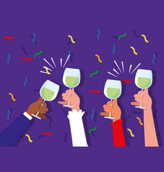hands with cups toasting celebration party vector image