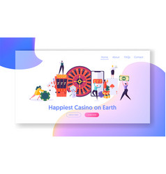 happy young people play roulette landing page vector image