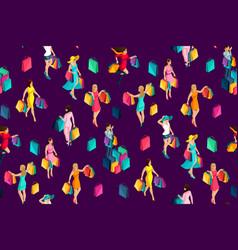 Isometrics seamless background 3d girls holiday vector