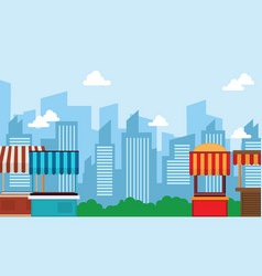 landscape of street stall style vector image