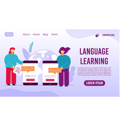 language learning mobile application landing page vector image