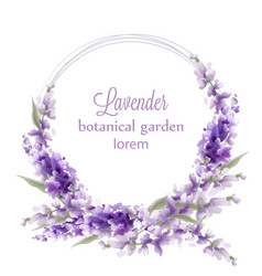lavender wreath card watercolor flowers decor vector image