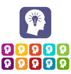 Light bulb inside head icons set vector