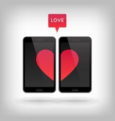 Love on phone vector