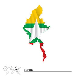 Map of Burma with flag vector image