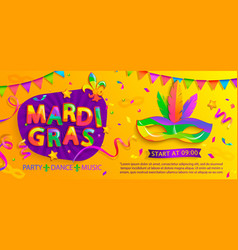 mardi gras banner with inviting for carnival party vector image