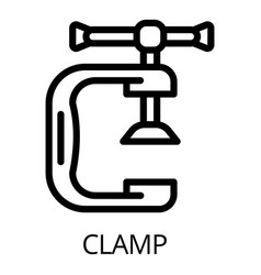 metal clamp icon outline style vector image