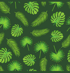 Monstera and palm tree leaves and branches pattern vector