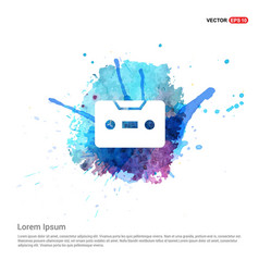 Music tape icon - watercolor background vector