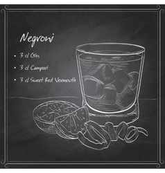 Negroni alcoholic cocktail on black board vector