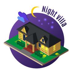 night villa isometric vector image
