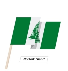 Norfolk Island Ribbon Waving Flag Isolated on vector