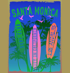on the theme of surf and surf club santa monica vector image