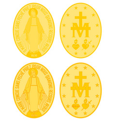 Our lady grace gold medal colored and outline vector