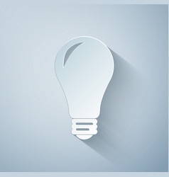 Paper cut light bulb icon isolated on grey vector