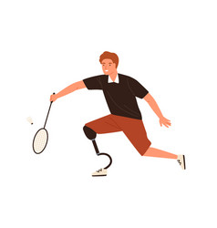 paralympic male athlete playing badminton vector image