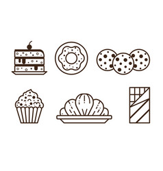 pastry chocolate and sweet desserts line icons vector image