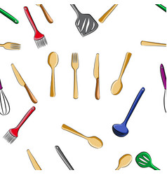 pattern of kitchen tools set vector image