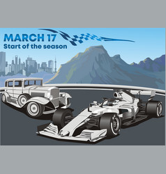 racing cars old and modern f1 car vector image