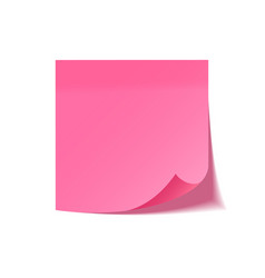 realistic sticky note with shadow pink paper vector image