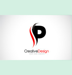 red and black p letter design brush paint stroke vector image