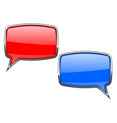 Red and blue speech bubbles web 3d icons with vector