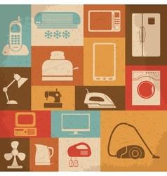 Retro home appliances icons vector