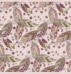 seamless native pattern with feathers and beads vector image