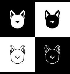 set dog icons isolated on black and white vector image