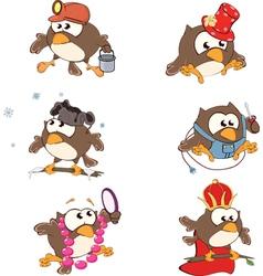 Set of cute owls for you design Cartoon vector