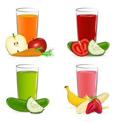 set of fresh fruit and vegetable juice vector image