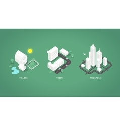 Set of the isometric city buildings vector image