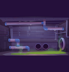 Sewage sewer drainage pipes system in basement vector