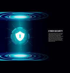 Shield on future technology digital background vector