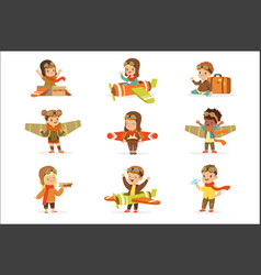 small children in pilot costumes dreaming of vector image
