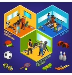 Sports Equipment Athletes Isometric 2x2 vector image