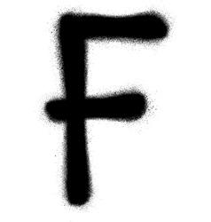Sprayed F font graffiti in black over white vector