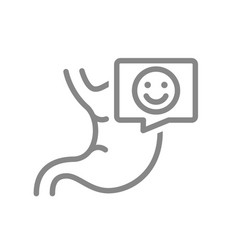 Stomach with happy face in speech bubble line icon vector