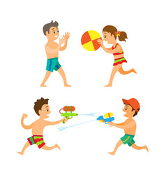 summer activity boy and girl playing on beach vector image