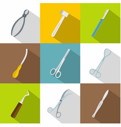 Surgical tools icons set flat style vector