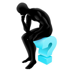 thinking on question mark silhouette vector image