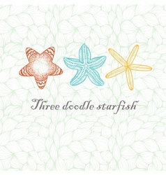Three doodle textured starfish vector image