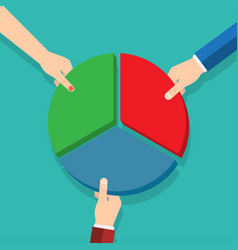 three hands picking pie chart parts vector image